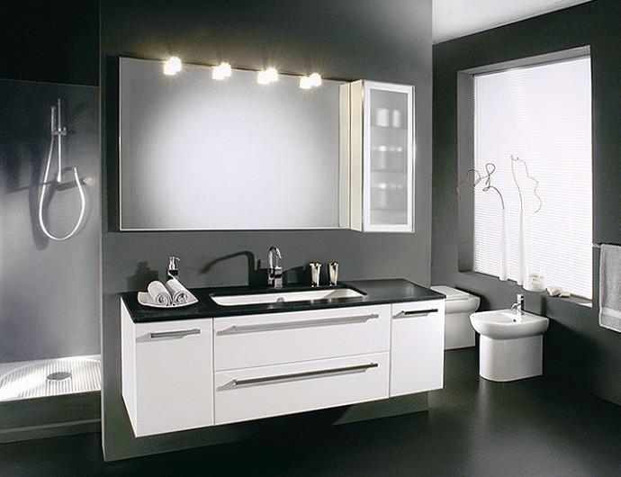 Mobile bagno sospeso laccato bianco lucido, top in marmo pepper ...