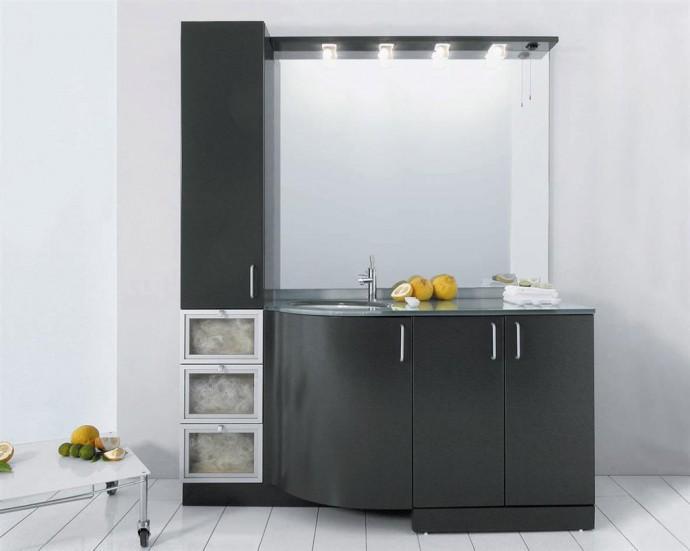 mobile bagno a pavimento laccato grigio antracite opaco top in cristallo argento con lavabo sottopiano ovale e coprilavatrice